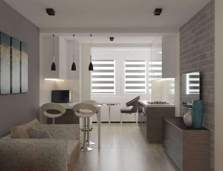 Дизайн интерьера квартиры Харьков (гостиная/кухня)