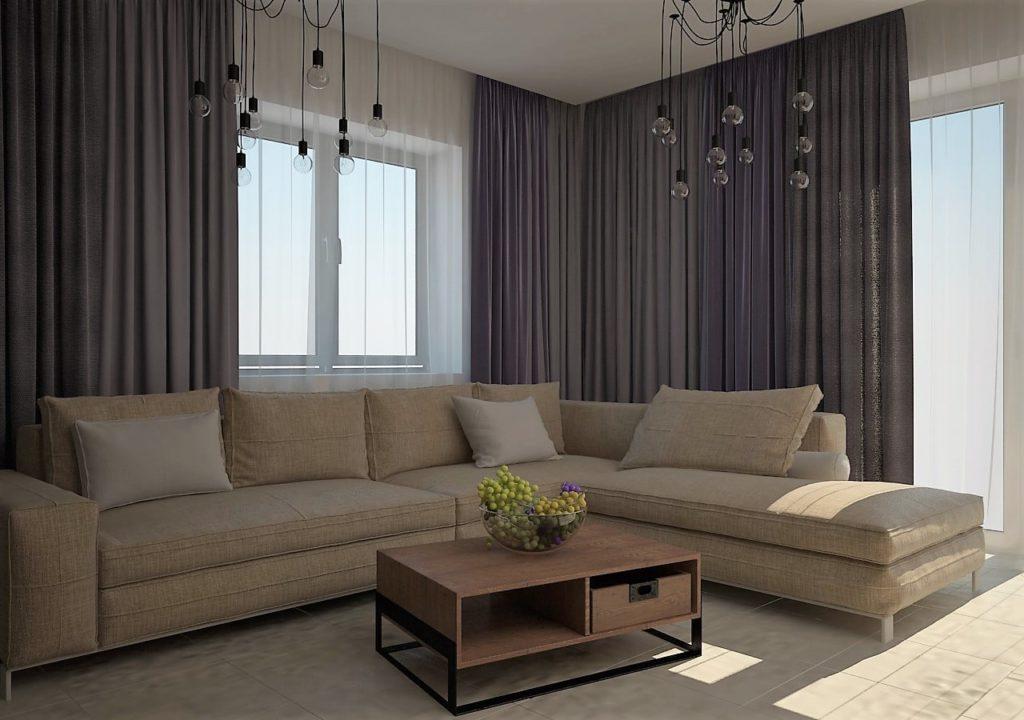 Дизайн интерьера двухкомнатной квартиры - Гостиная в современном стиле