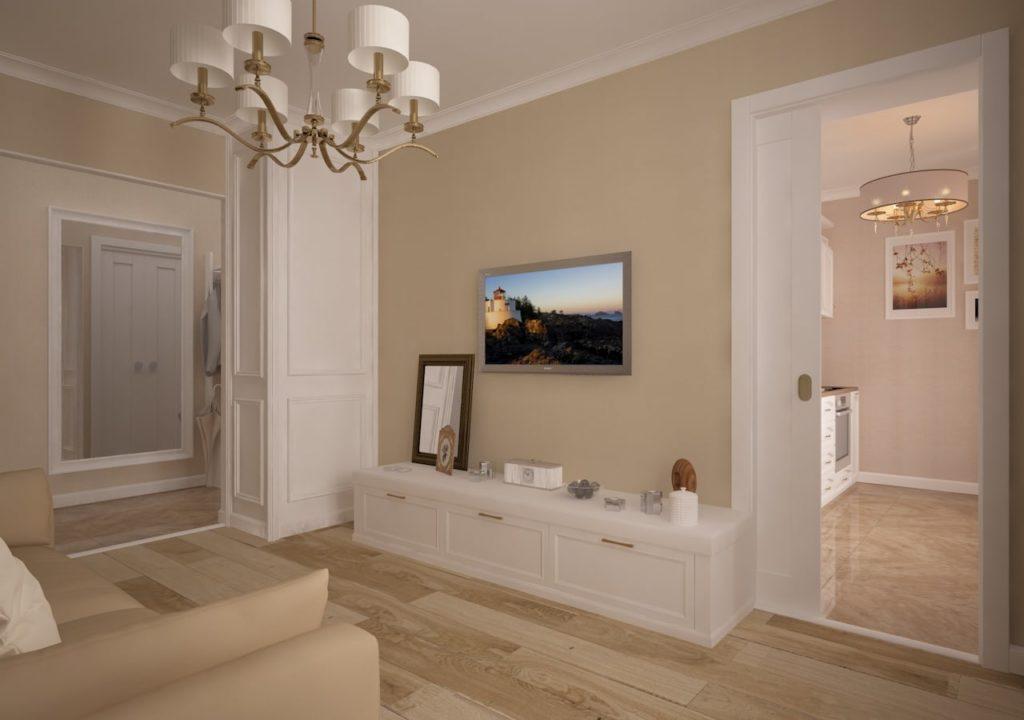 Дизайн интерьера двухкомнатной квартиры - Гостиная в классическом стиле