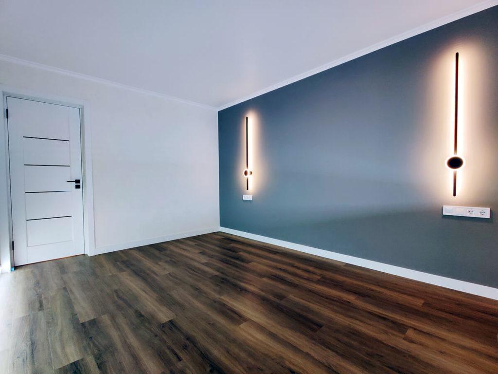 Ремонт комнаты в трехкомнатной квартире с интересным освещением